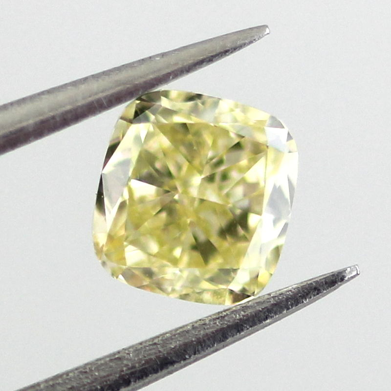 Fancy Yellow Diamond, Cushion, 0.41 carat, VS2