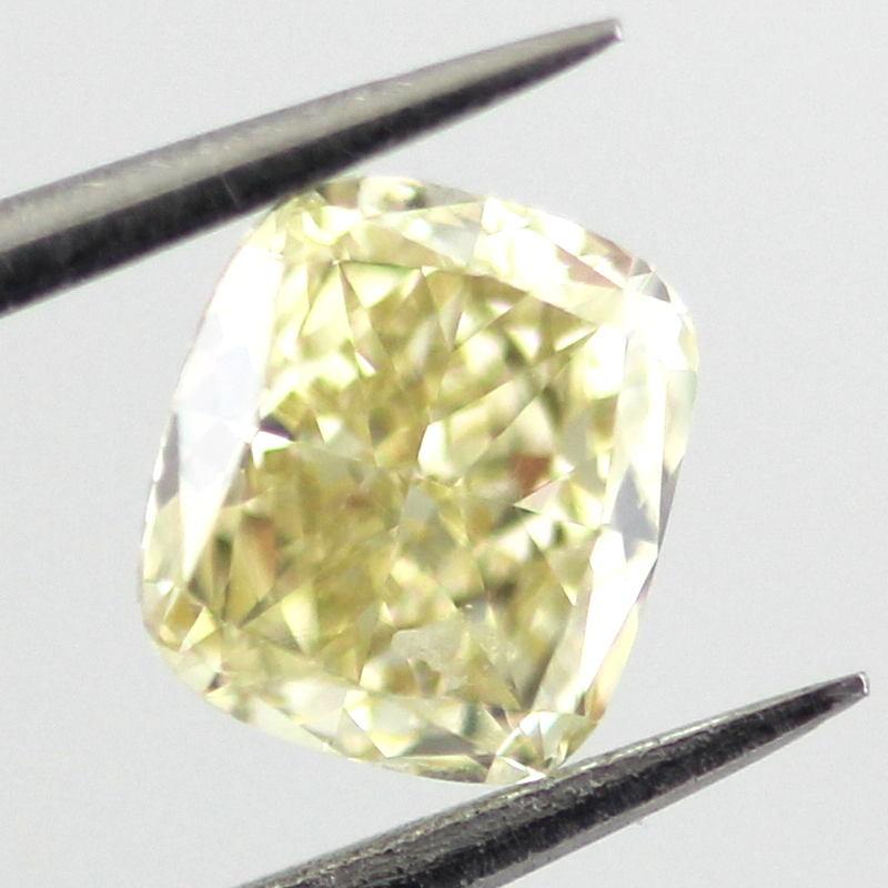 Fancy Yellow Diamond, Cushion, 0.64 carat, VVS2