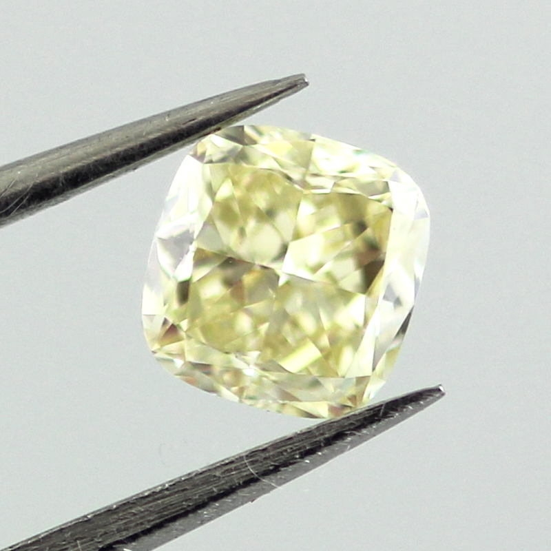 Fancy Yellow Diamond, Cushion, 0.55 carat, VVS2