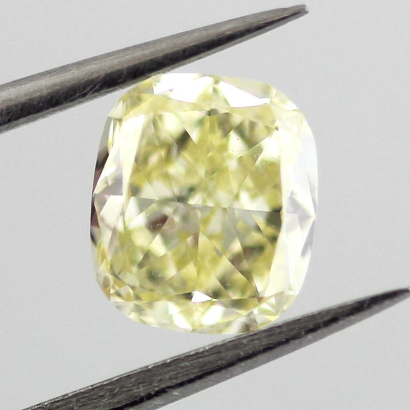 Fancy Yellow Diamond, Cushion, 0.84 carat, VS2