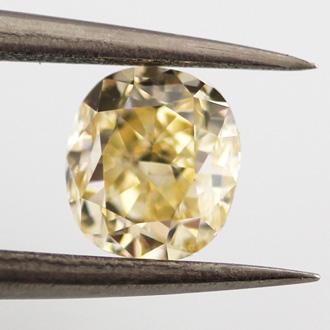 Fancy Yellow Diamond, Cushion, 0.66 carat, VS1
