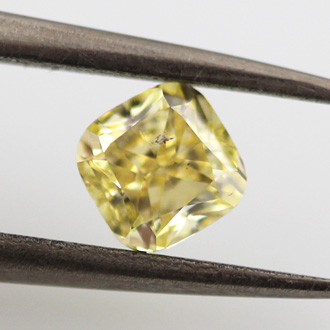 Fancy Yellow Diamond, Cushion, 0.75 carat, I1- C