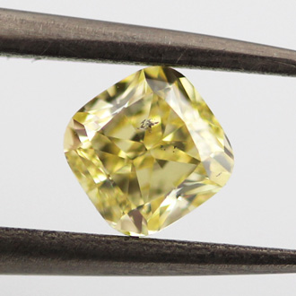 Fancy Yellow Diamond, Cushion, 0.75 carat, I1
