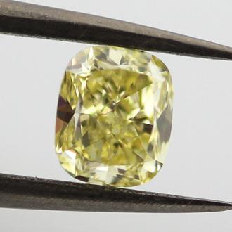 Fancy Yellow Diamond, Cushion, 0.76 carat, SI2
