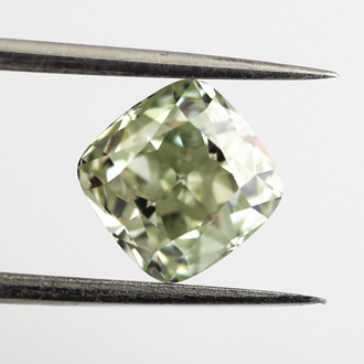 Fancy Yellowish Green Diamond, Cushion, 1.53 carat, VS2 - B