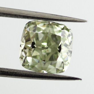 Fancy Yellowish Green Diamond, Cushion, 1.53 carat, VS2 - C