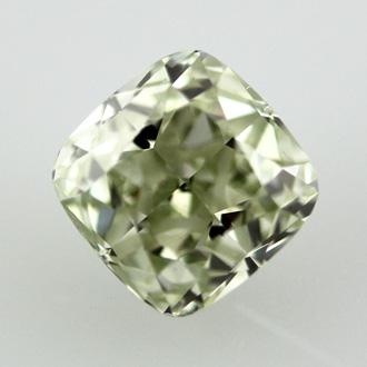 Fancy Yellowish Green Diamond, Cushion, 1.53 carat, VS2