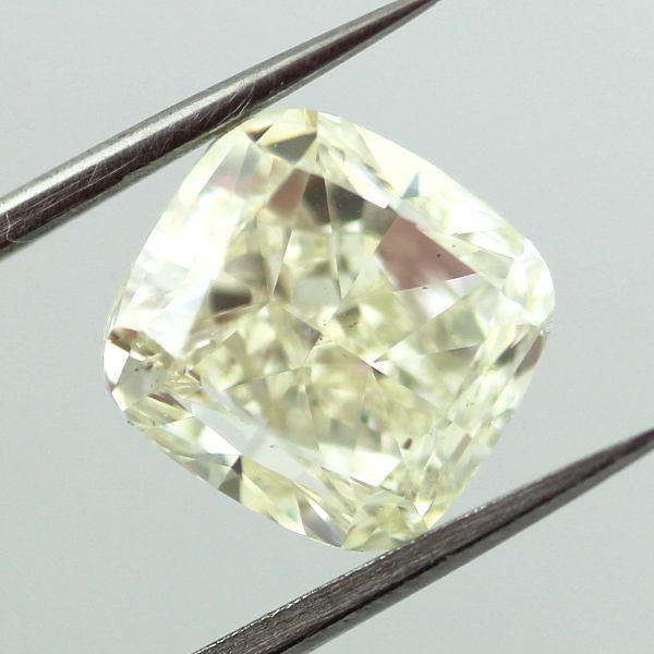 Very Light Yellow (w-x) Diamond, Cushion, 4.01 carat, SI2