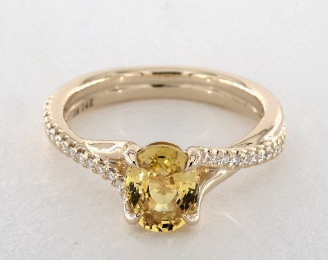pave oval yellow sapphire engagement ring 1.79ct