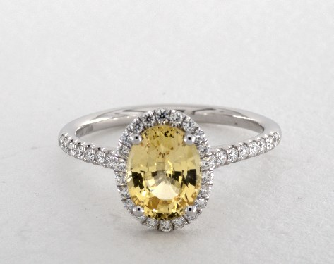 oval yellow sapphire engagement ring in white gold 1.79ct