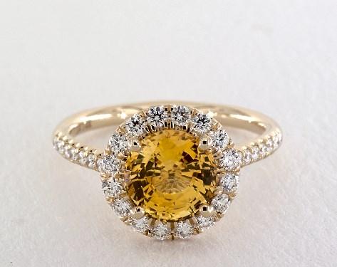 round gold yellow sapphire ring 2.51ct