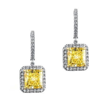 Dangling Halo Fancy Light Yellow Diamond Earrings, 8.93 ctw
