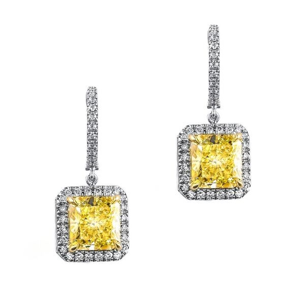 Fancy Light Yellow Diamond Earrings Radiant 8 06 Carat Vs2