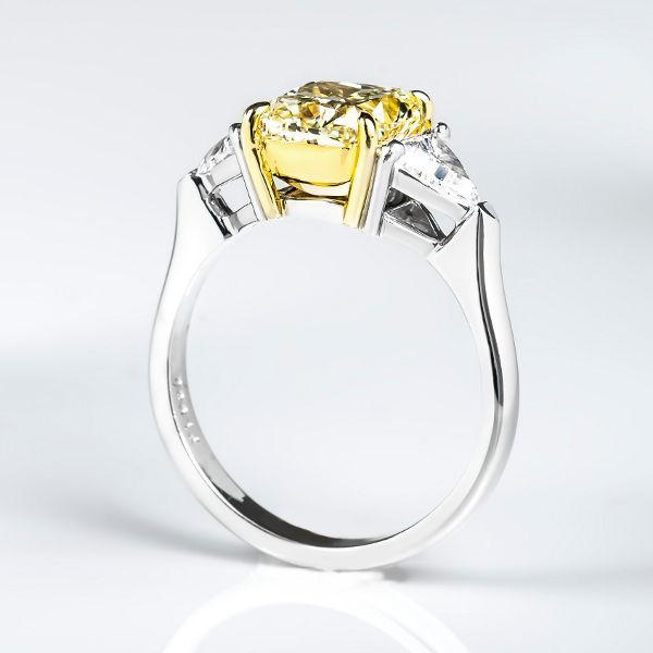 Cushion 3 Stone Fancy Light Yellow Diamond Engagement Ring, 2.88 t.w, VS1 - B