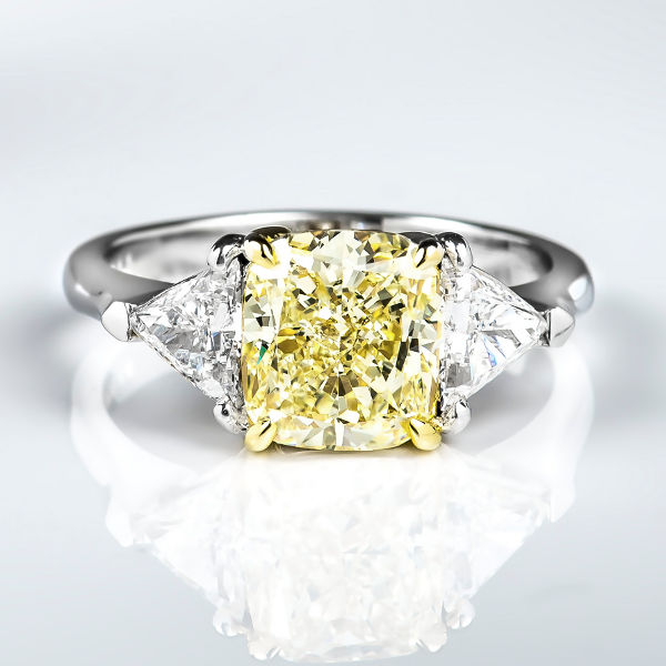 Cushion 3 Stone Fancy Light Yellow Diamond Engagement Ring, 2.88 t.w, VS1