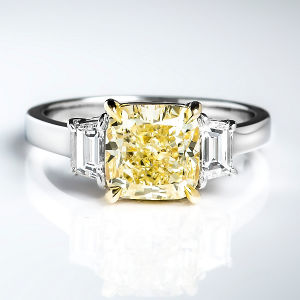 3 Stone Fancy Light Yellow Diamond Engagement Ring, 3.01 ctw