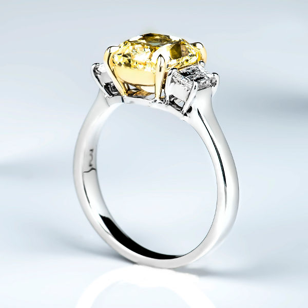 Cushion 3 Stone Fancy Light Yellow Diamond Engagement Ring, 3.01 t.w, VS2 - B