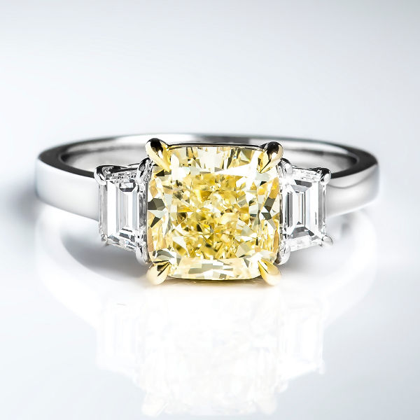 Cushion 3 Stone Fancy Light Yellow Diamond Engagement Ring, 3.01 t.w, VS2