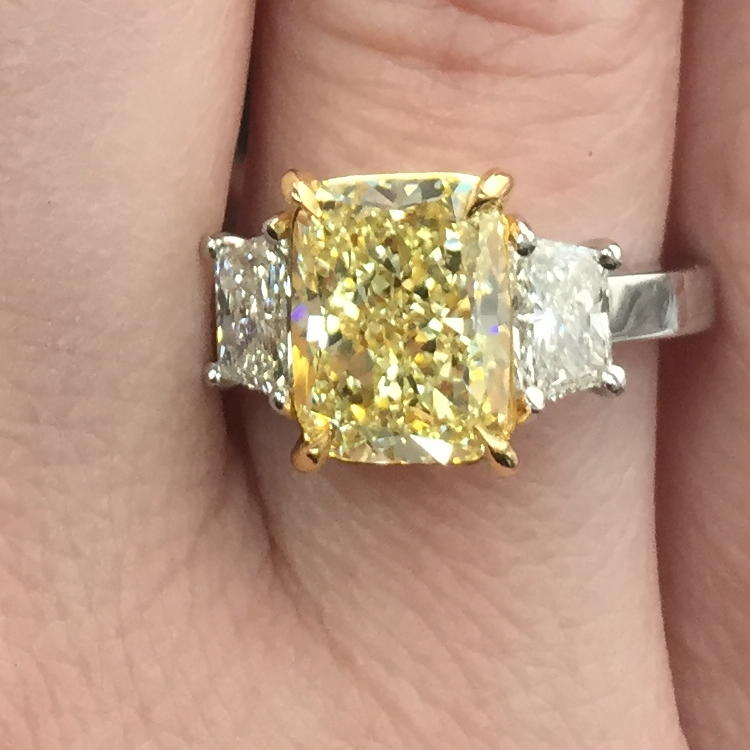 Fancy Light Yellow Diamond Ring, Cushion, 3.38 carat, VS1