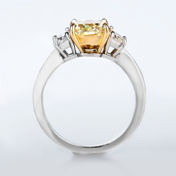 Cushion 3 Stone Fancy Yellow Diamond Engagement Ring, 2.59 t.w, VS2 - B
