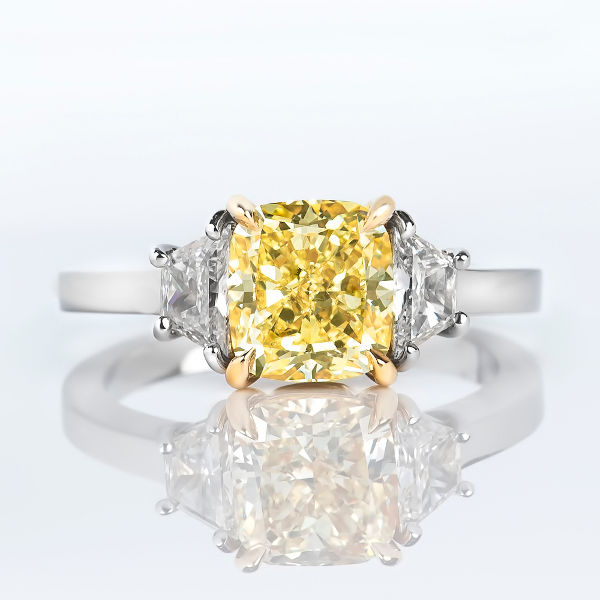 Cushion 3 Stone Fancy Yellow Diamond Engagement Ring, 2.59 t.w, VS2