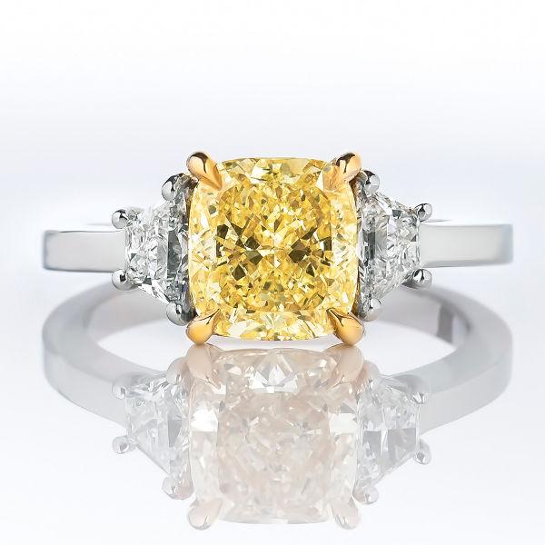 Fancy Yellow Diamond Ring, Cushion, 2.12 carat, SI2
