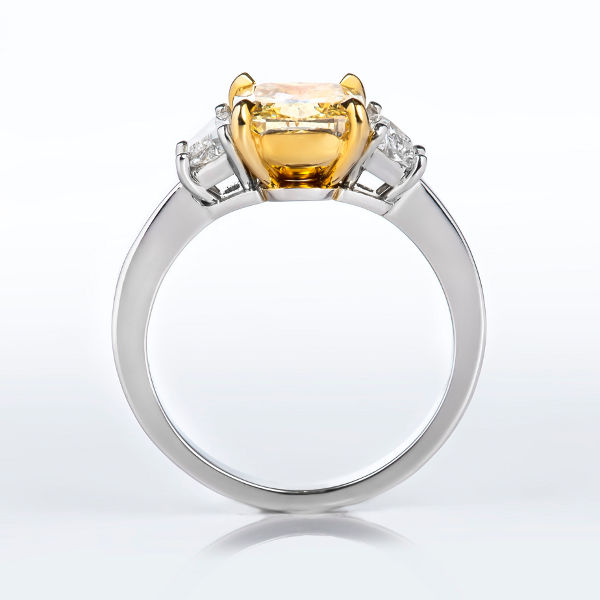 Cushion 3 Stone Fancy Yellow Diamond Engagement Ring, 2.63 t.w, SI2 - B