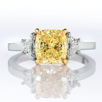 Fancy Yellow Diamond Ring, Cushion, 2.12 carat, SI2 - Thumbnail