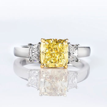 Fancy Yellow Diamond Ring, Cushion, 2.28 carat, VS1 (2.82 t.w)
