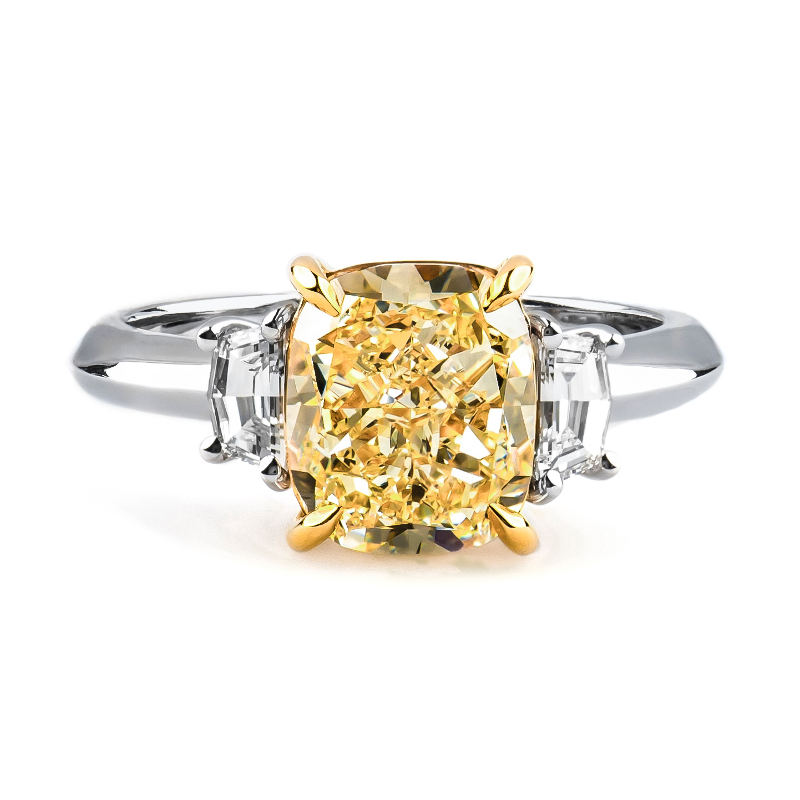 fancy tone in canary cut gold two product diamond ring yellow rings cushion engagement