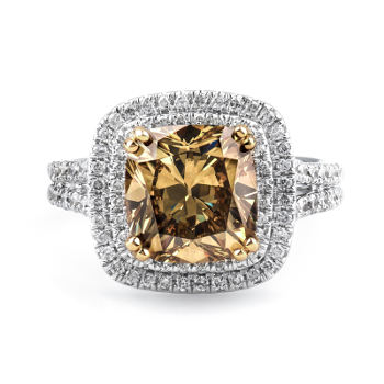 Fancy Dark Brown Greenish Yellow Diamond Ring, Cushion, 4.05 carat, SI2 - Thumbnail