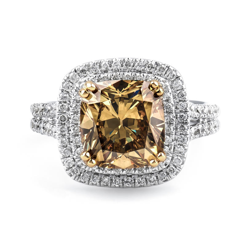 Fancy Dark Brown Greenish Yellow Diamond Ring, Cushion, 4.05 carat, SI2