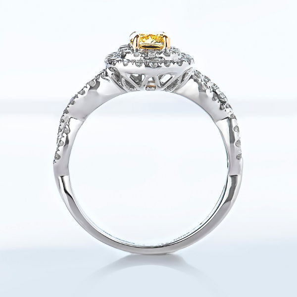 Cushion Double Halo Fancy Intense Yellow Diamond Engagement Ring, 1.09 t.w, VS2 - B