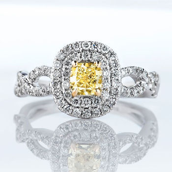 Fancy Intense Yellow Diamond Ring, Cushion, 0.51 carat, VS2 - Thumbnail