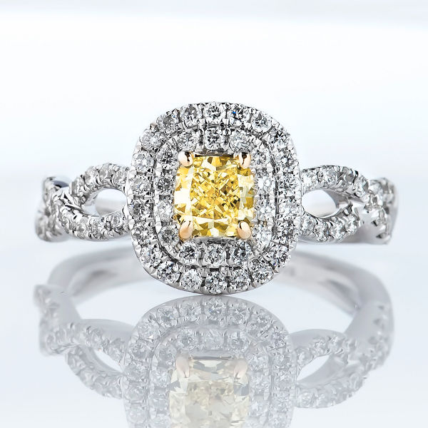 Cushion Double Halo Fancy Intense Yellow Diamond Engagement Ring, 1.09 t.w, VS2