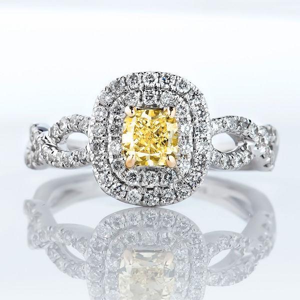 Fancy Intense Yellow Diamond Ring, Cushion, 0.51 carat, VS2