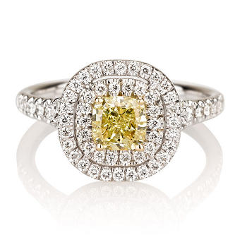Double Halo Fancy Yellow Diamond Engagement Ring, 1.39 ctw