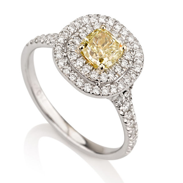Fancy Yellow Diamond Ring, Cushion, 0.71 carat, VS2 - B