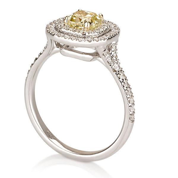 Cushion Double Halo Fancy Yellow Diamond Engagement Ring, 1.39 t.w, VS2 - C