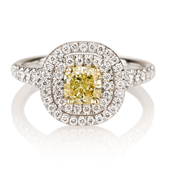 Cushion Double Halo Fancy Yellow Diamond Engagement Ring, 1.39 t.w, VS2