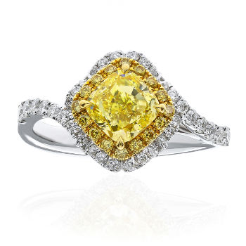 Double Halo Twist Fancy Light Yellow Diamond Engagement Ring, 1.68 ctw