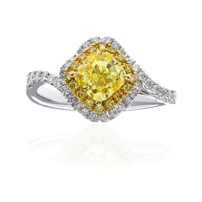 Fancy Light Yellow Diamond Ring, Cushion, 1.17 carat, VS2