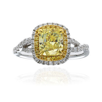 Double Halo Twist Fancy Yellow Diamond Engagement Ring, 1.70 ctw