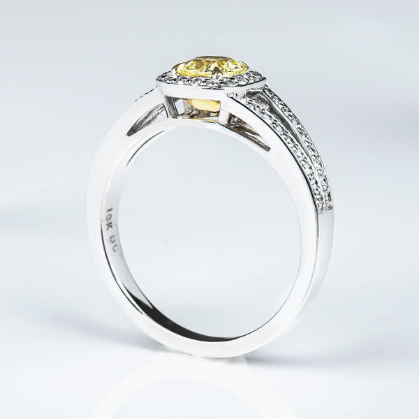Cushion Halo Fancy Light Yellow Diamond Engagement Ring, 0.77 t.w, VS1 - B