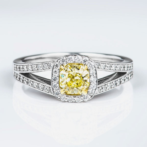 Cushion Halo Fancy Light Yellow Diamond Engagement Ring, 0.77 t.w, VS1