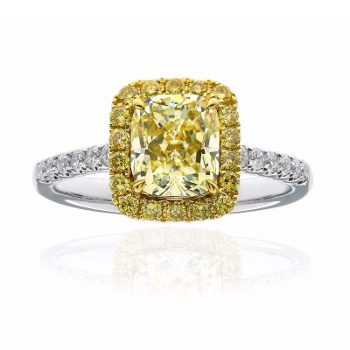 Fancy Light Yellow Diamond Ring, Cushion, 1.65 carat, VVS1 - Thumbnail