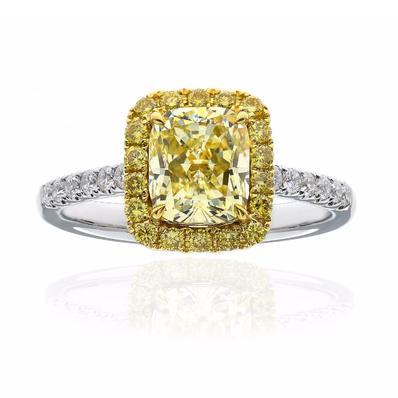 Fancy Light Yellow Diamond Ring, Cushion, 1.65 carat, VVS1