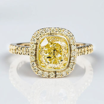 Halo Fancy Light Yellow Diamond Engagement Ring, 2.42 ctw
