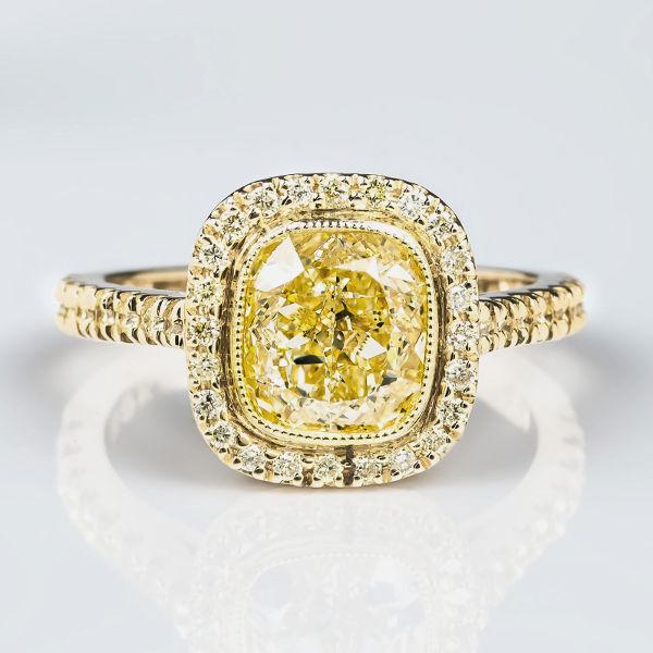 Fancy Light Yellow Diamond Ring, Cushion, 2.02 carat, VS1
