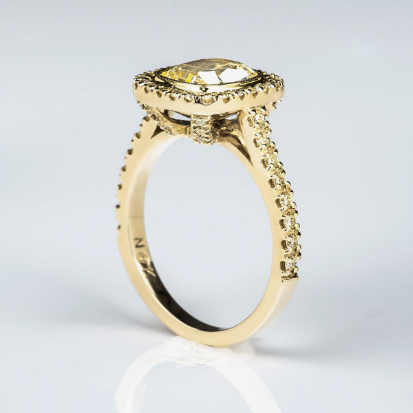 Fancy Light Yellow Diamond Ring, Cushion, 2.02 carat, VS1 - B